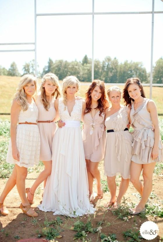 Mismatched Bridesmaid Dresses in Neutral Colors i love this! it looks so put together but could be cheap