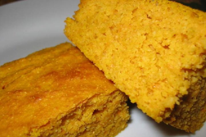 Sweet Potato Cornbread- VERDICT: love. Barely sweet, dense, and moist ...