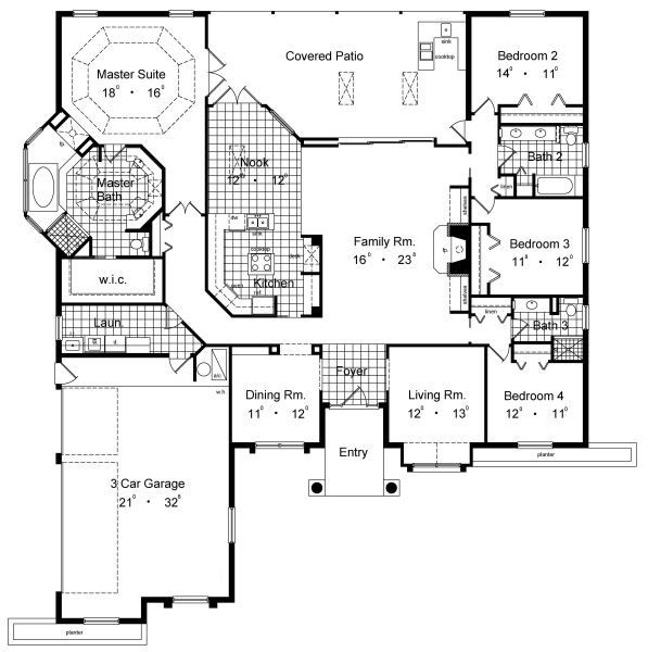Split bedrooms big master bath decor pinterest Split master bedroom floor plans