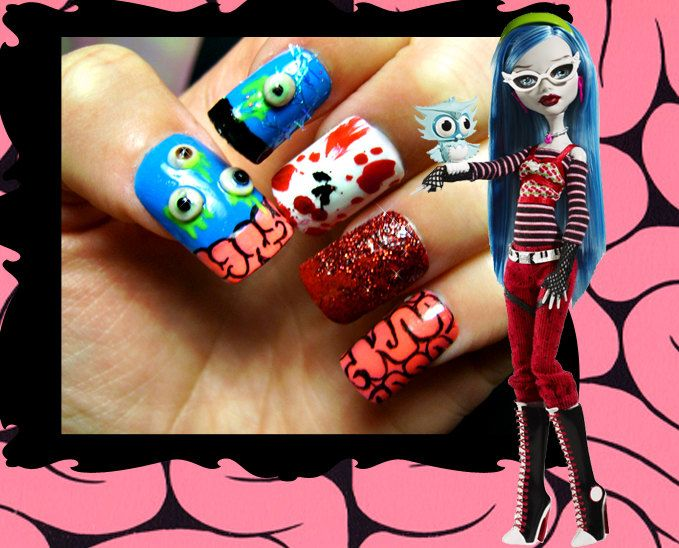 Ghoulia Yelps Monster High Inspired Nail Art
