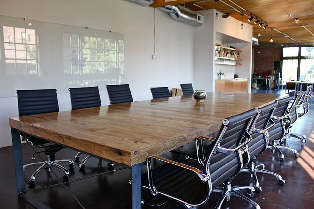 Reclaimed wood iron conference table commercial project pinterest