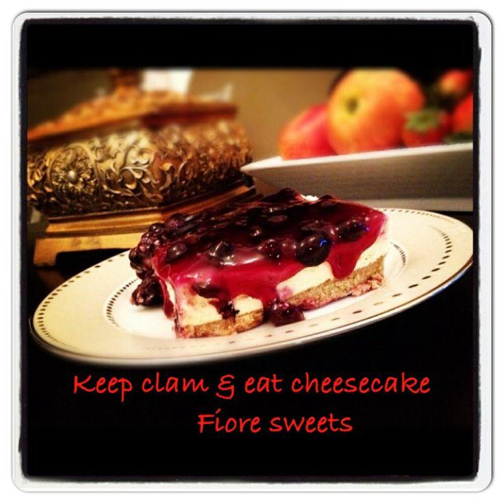 British Cheesecake With Warm Blueberries Recipe — Dishmaps