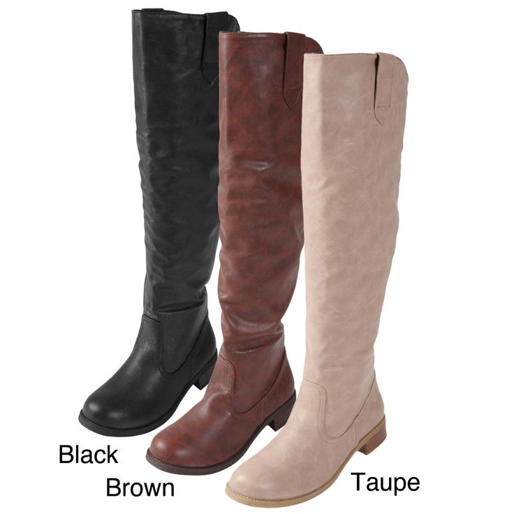 Journee Collection Women's 'Nephi-06' Faux Leather Knee-high Boots | Overstock.com