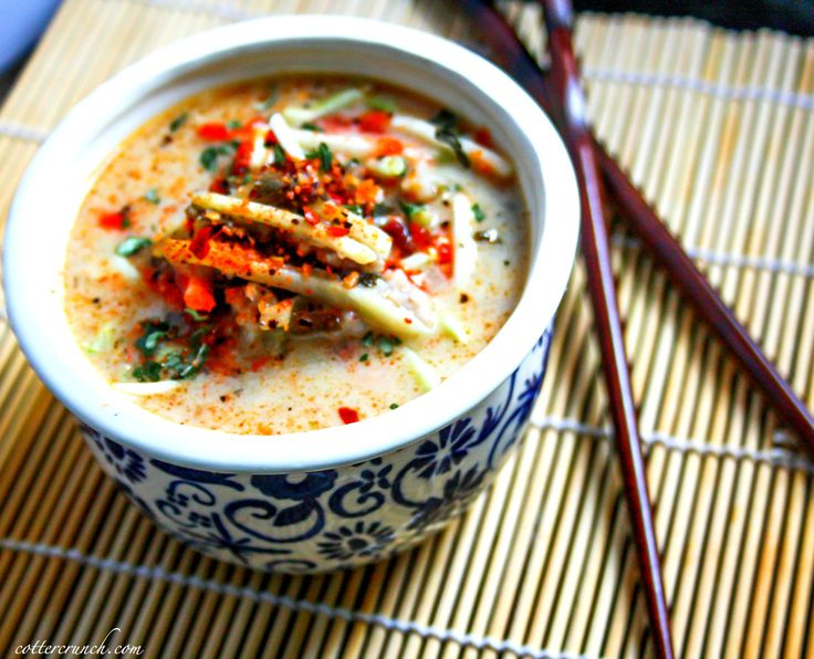 Thai coconut soup with cabbage