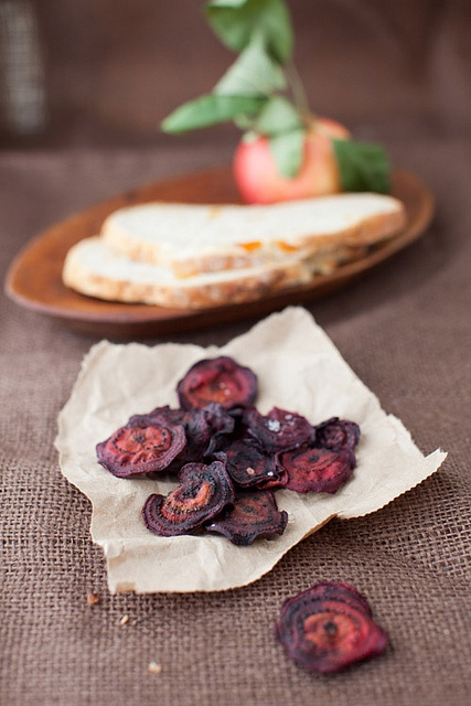 ... baked beet chips and dry apricot hazelnut bread at cooking melangery