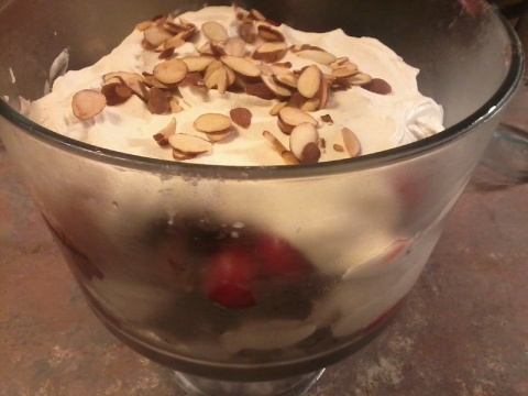 Fruit and Brownie trifle - tonight's dessert. Yummeh!