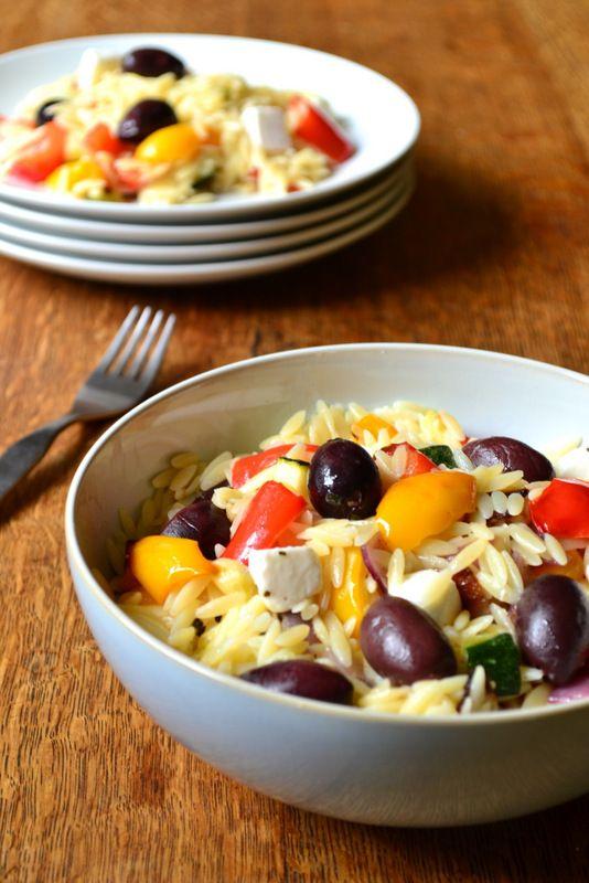 Roasted Vegetable and Olive Orzo Salad - sub tofu for feta??