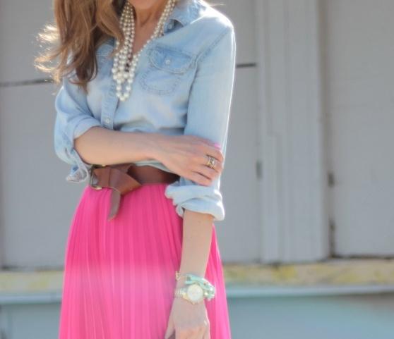 Chambray & hot pink.