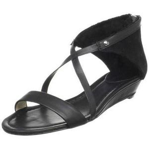 Womens Zipper Gladiator Sandals Shoes 8 Black Solid Designer Footwear