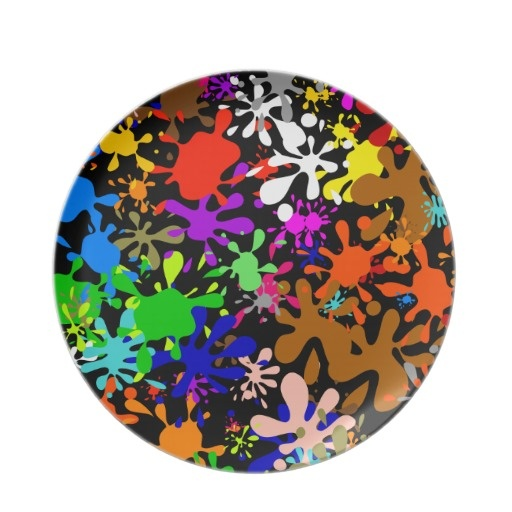 Graffiti Multi Paint Splatter Wallpaper Design Dinner Plates