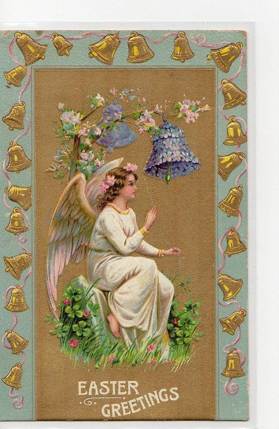 Easter Angel vintage postcard by sharonfostervintage on Etsy, $4.00