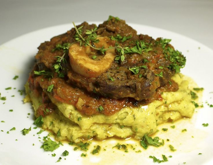 "Osso buco means ""bone with a hole"" in Italian."