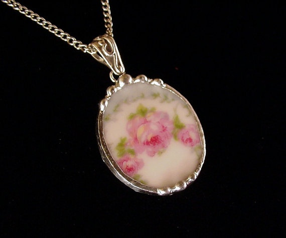 Broken china jewelry pendant necklace antique German pink rose porcelain oval shaped