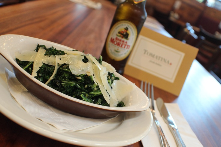 Kale sauteed in olive oil with lemon, Parmesan and toasted pine nuts ...