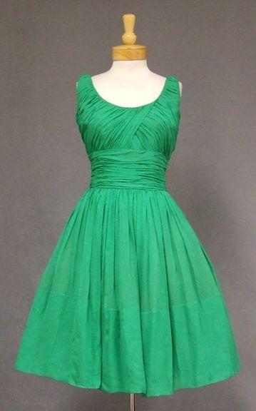Green Chiffon Vintage Cocktail Dress