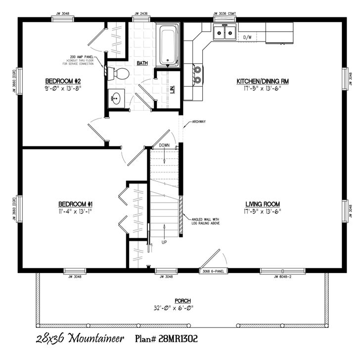 28 39 x 36 39 with 6 39 x 32 39 porch small floor plans pinterest for 28x36 cabin plans