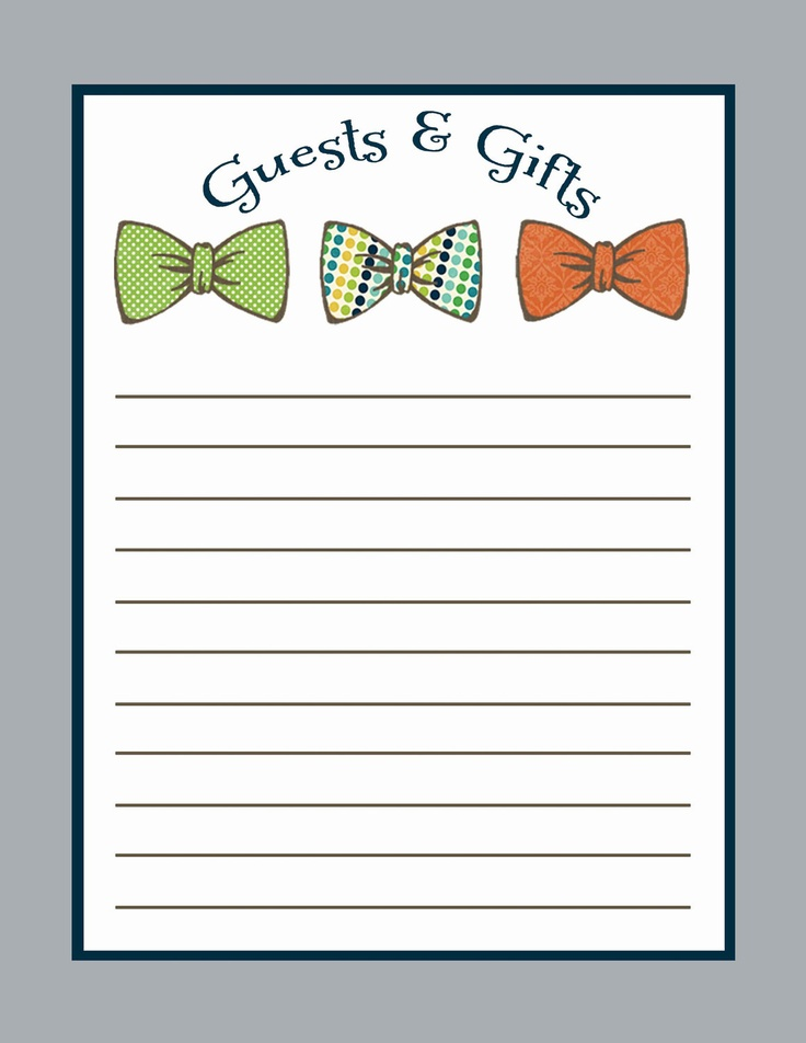 guest and gift list to match any design for baby shower or party