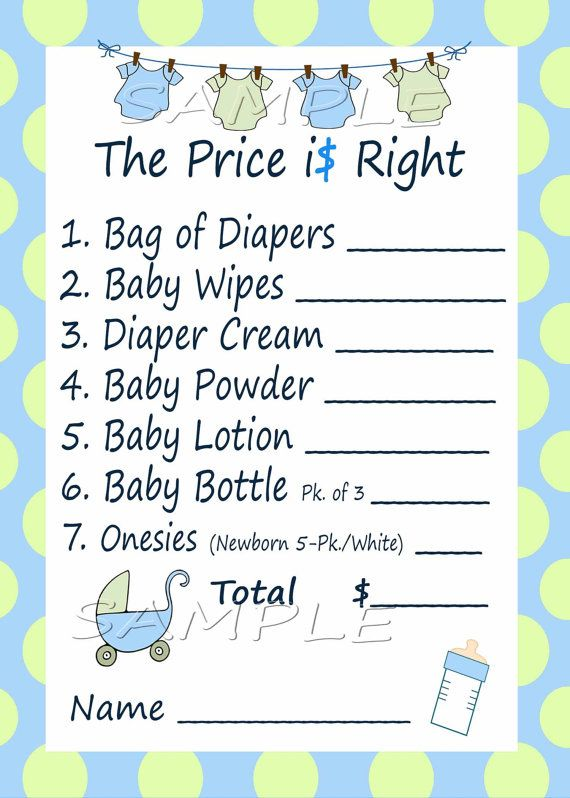 printable baby shower games price is right price is right baby shower