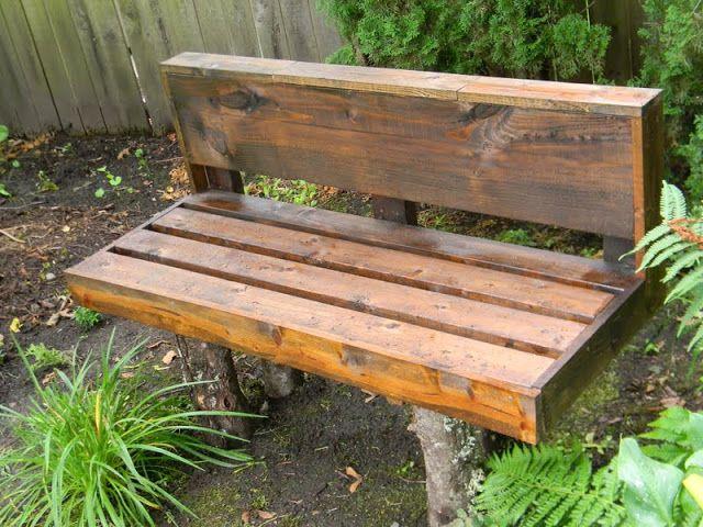 Just Sittin'- log leg bench designed by my son, built by me! shelstringblog.blogspot.com