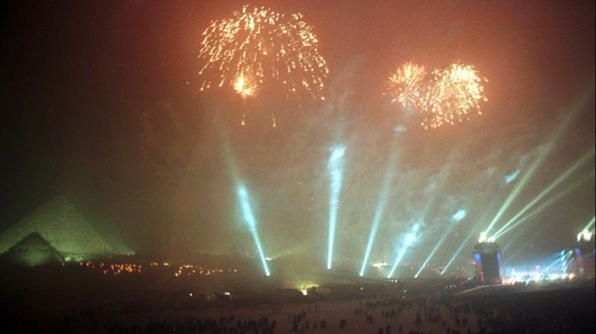 Thousands of people flock to an amazing concert held in front of the 4,500-year-old pyramids in Egypt on New Year's Eve!