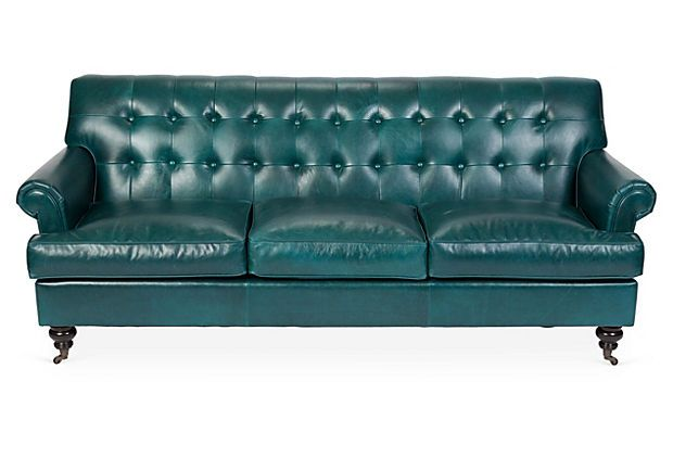 Whitby 89 tufted leather sofa teal for Teal leather sofa