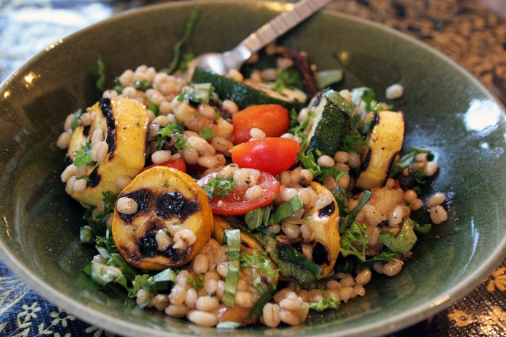 lime marinated veggie kabobs with barley kale salad lentil and barley ...