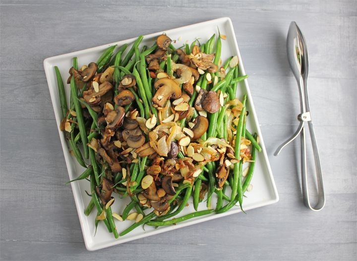 Green Beans with Caramelized Onions, Cremini Mushrooms and Almonds.