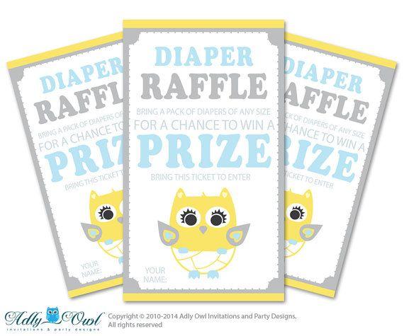 Boy owl Diaper Raffle Tickets Printable for Baby boy Shower DIY yello ...