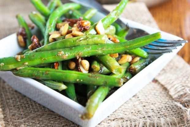 Vegan) Miso Green Beans with pine nuts. I'd totally pull this off ...