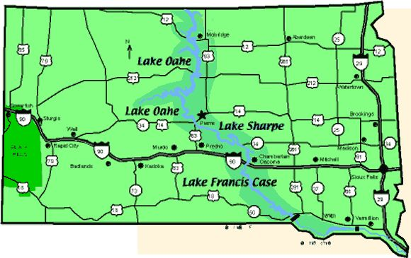 South dakota dams map for Missouri river fishing report south dakota