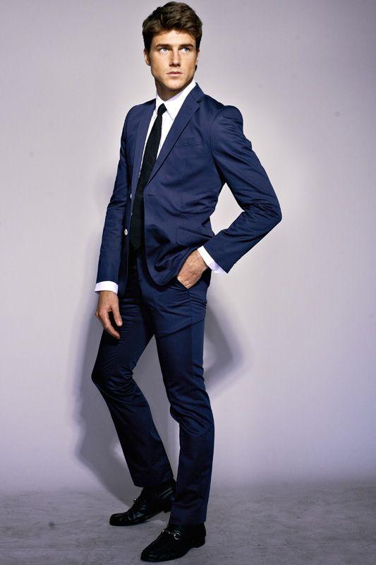 black suit and blue tie - photo #14