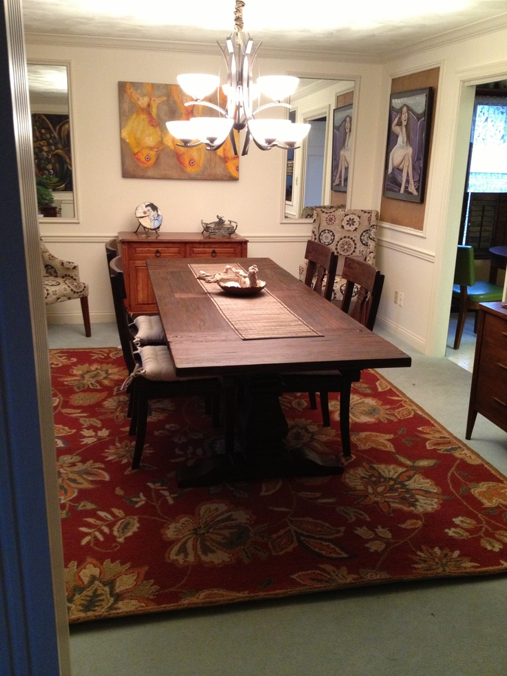 new rug under my dining room table for the home pinterest