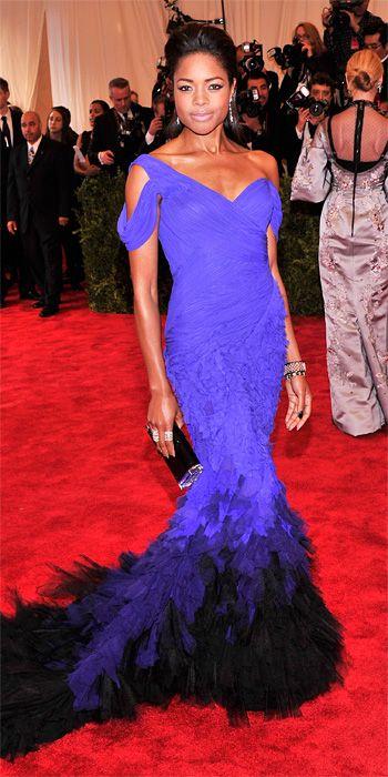 Naomie Harris in violet blue Donna Karan Atelier at the Met Gala 2013