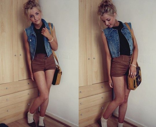Shorts From Topshop, Bag From Primark, Cropped Jacket From Dagenham Market, Top From Charity Shop