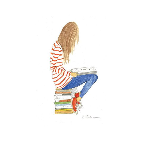 I want this! It looks like my sweet girl!{illustration watercolor girl with books by illustrationsbyaimee}