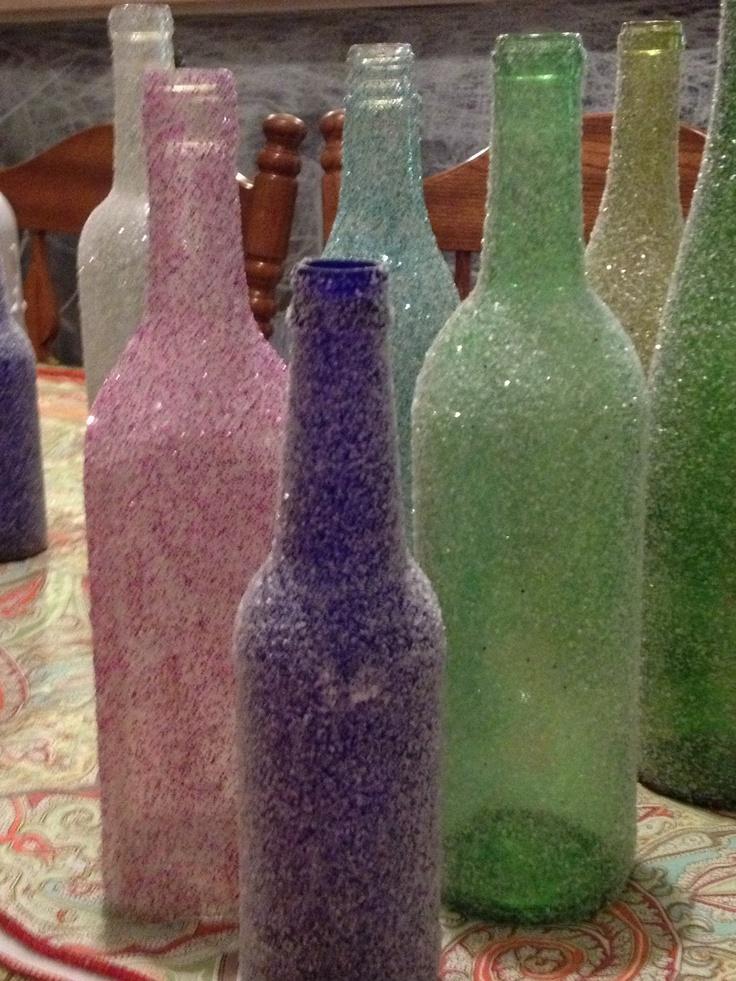 Glitter wine bottles wine bottles pinterest for How to glitter wine bottles