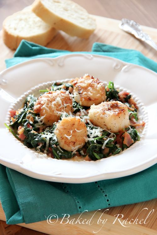 Pan Seared Scallops with Spinach and Bacon - Baked by Rachel