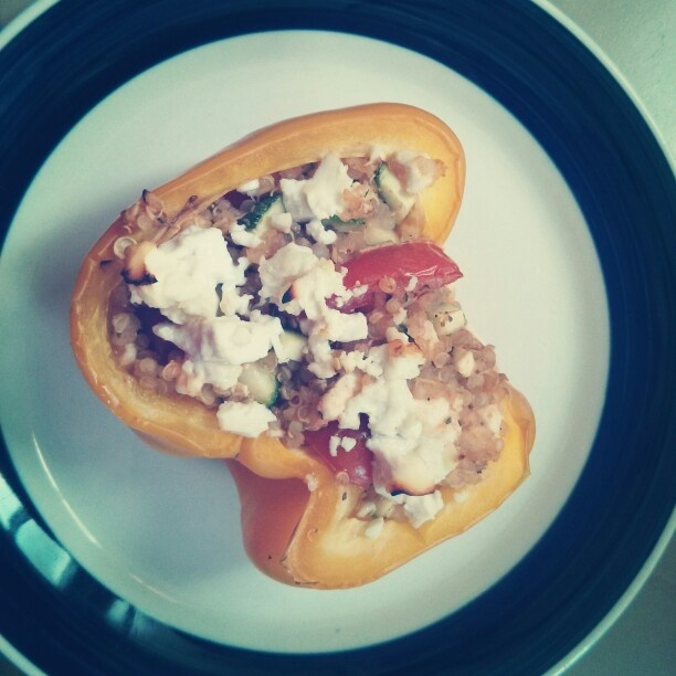 ... with quinoa,tomato and zucchini topped with feta and goat cheese