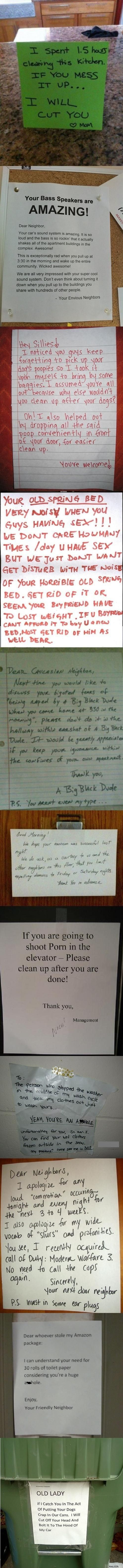Dear Neighbor.  Funny signs left for annoying neighbors.