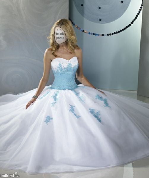 Princess style wedding dress with blue bodice and accent ...