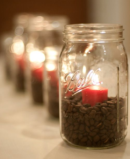 mason jar, coffee beans, and a candle. <3