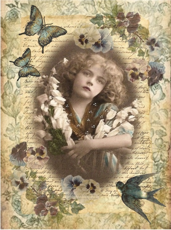 Collage. I used ephemera I have collected on Pinterest for this one. Love the antique coloration.