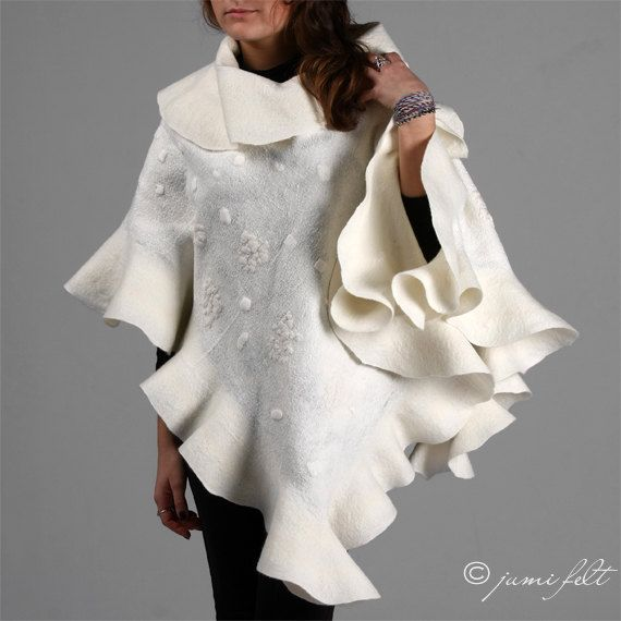 Felted shawl  Queen of snow  Elegant white Wavy Ruffle by JumiFelt, $149.00