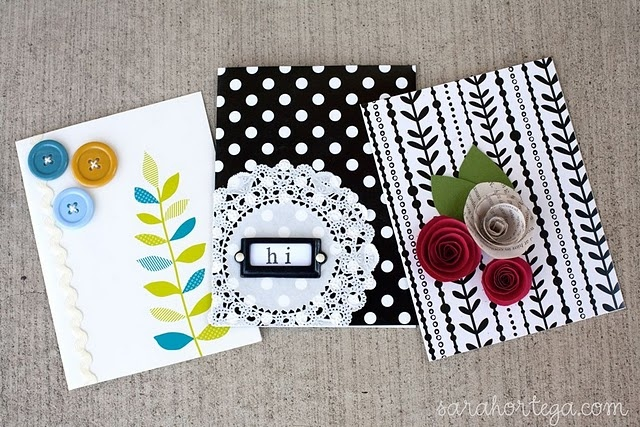 Give dollar store cards a homemade touch and make them stand out by adding a few simple elements.