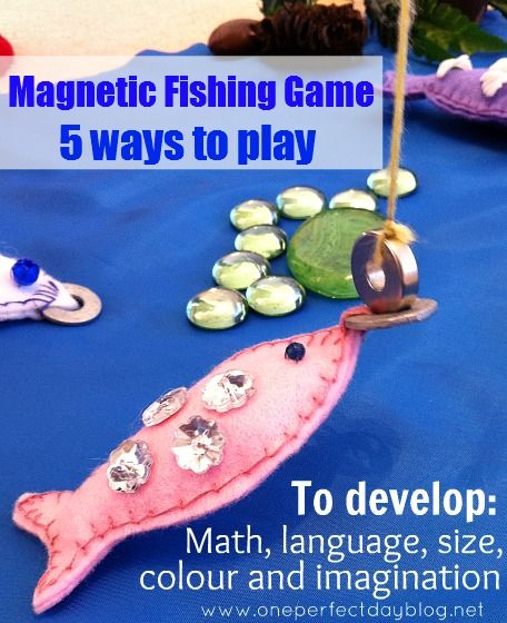 5 ways to play with a Magnetic Fishing Game {teaching math, language, size, colour and imagination}