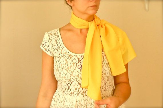1970s mademoiselle bright yellow sheer head scarf women s acc
