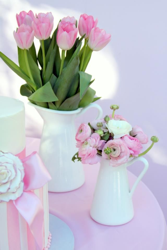 Spring Baby Shower girl pink pitchers tulips ranunculus centerpieces arrangements