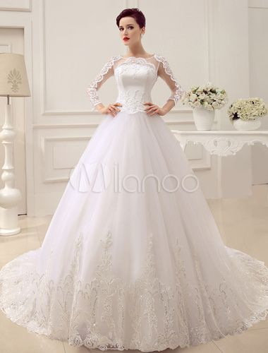 Tiered Cathedral Train Applique Bridal Wedding Gown With Crewneck ...