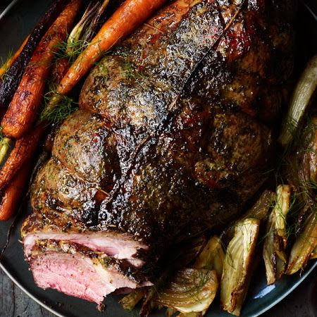 Honey-Vinegar Leg of Lamb with Fennel and Carrots (feeds 12)