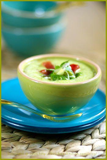 Cold Avocado Corn Soup With Cilantro Oil Recipe — Dishmaps